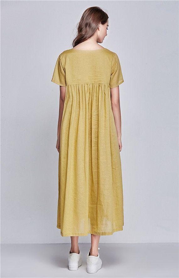 36c968649a6 robe de lin du choc de couleur robe large robe longue de