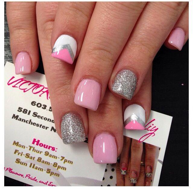 Pink Silver White Nails Nails Fun Nails Nail Colors