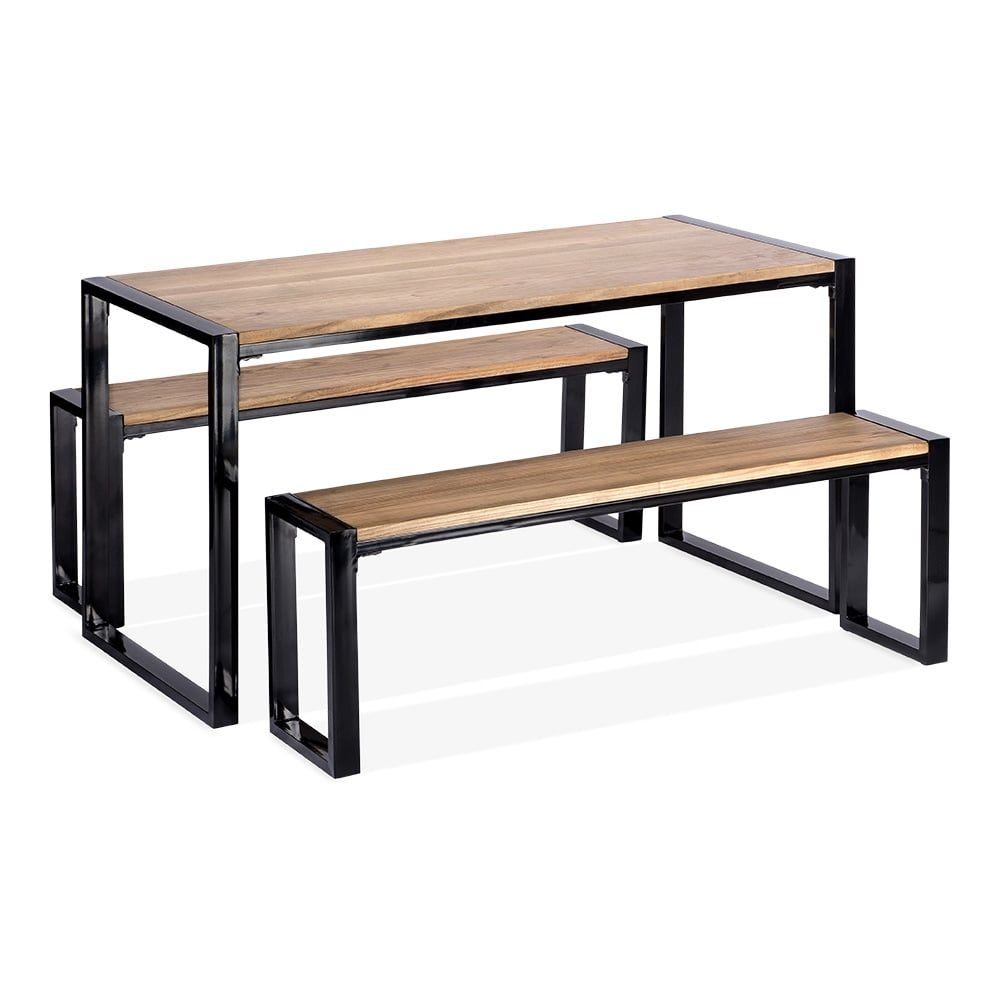 Super Cult Living Gastro Metal Bench Solid Elm Wood Black 128Cm Gmtry Best Dining Table And Chair Ideas Images Gmtryco