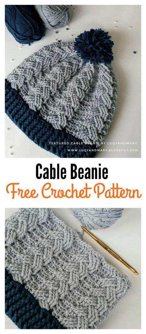 Cable Beanie Hat Free Crochet Pattern | Patrón de ganchillo, Cable y ...