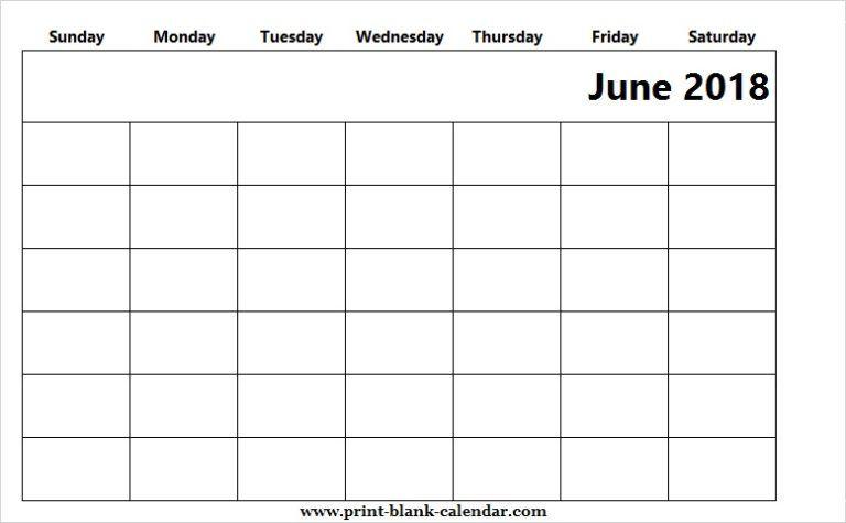 Cute Blank Calendar June 2018 Excel 31 calendar Pinterest