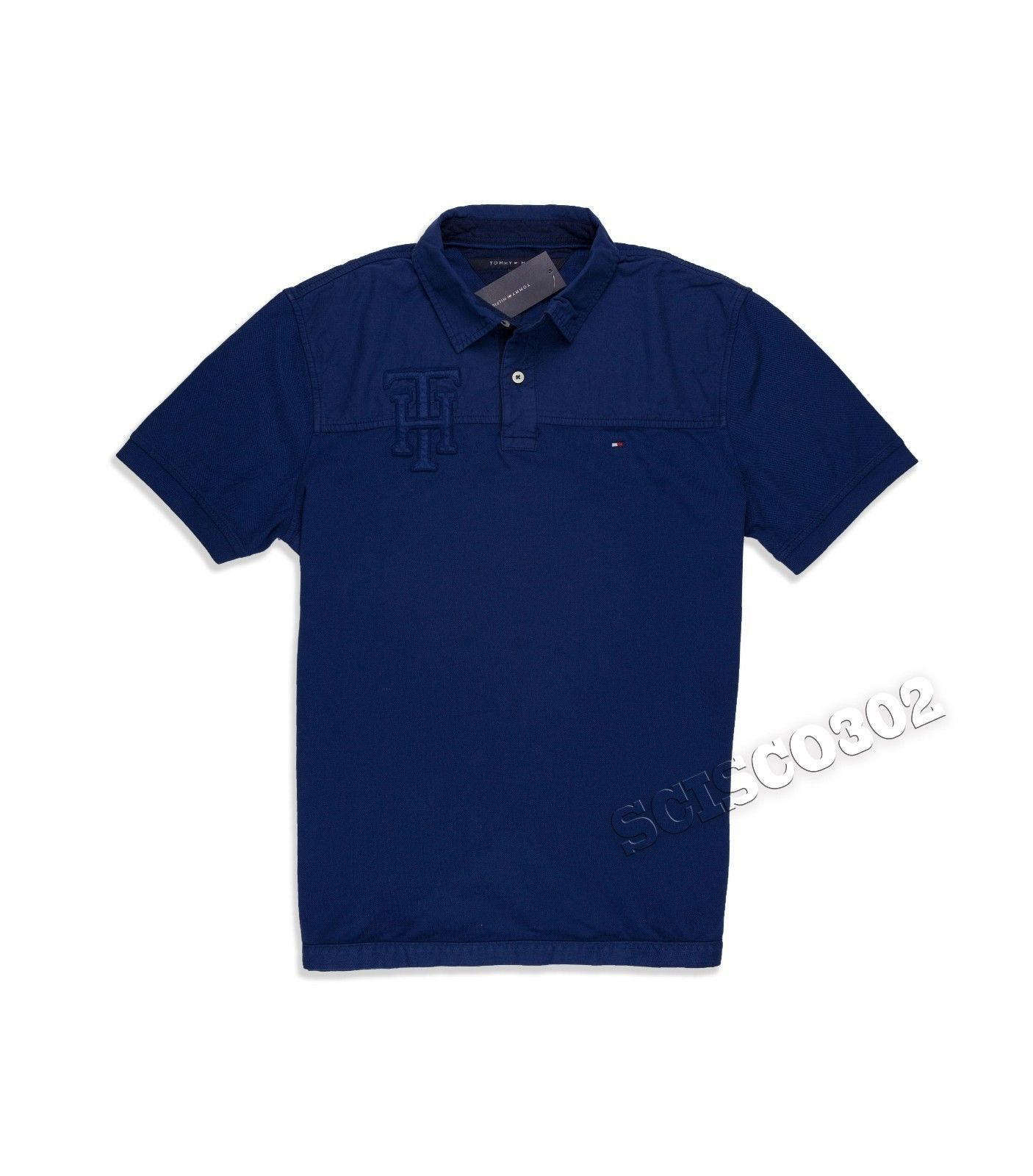Tommy Hilfiger Polo Shirt Custom Fit Dip Dyed Navy Blue Mens Polo