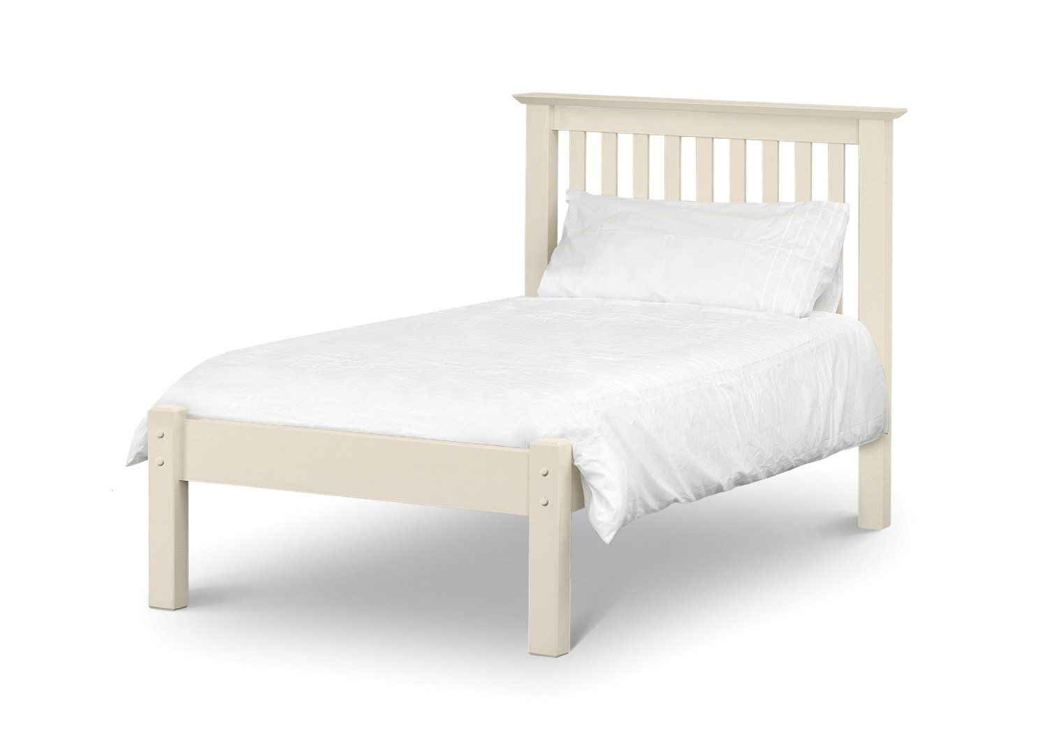 Julian Bowen Barcelona Single Bed with Low Foot End, Stone White ...