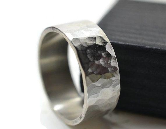 Men S Sterling Silver Wedding Band 8mm Wide Rustic Etsy Wedding Band Engraving Hammered Wedding Rings Handmade Wedding Band