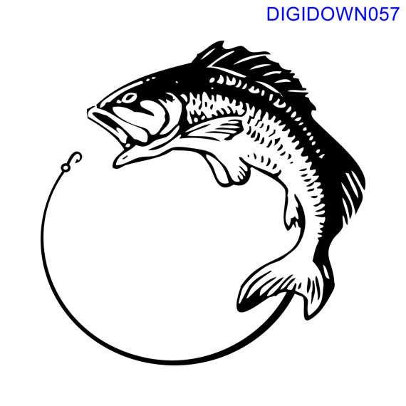 Images for Cut Files or Prints Studio Vector Black Salmon Fish Stencil Clip Art Monogram Silhouette SVG