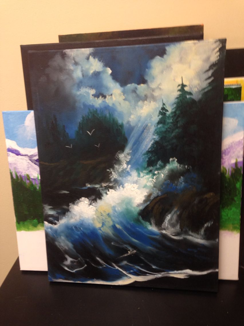 Nite Wave on Black Canvas 12 x