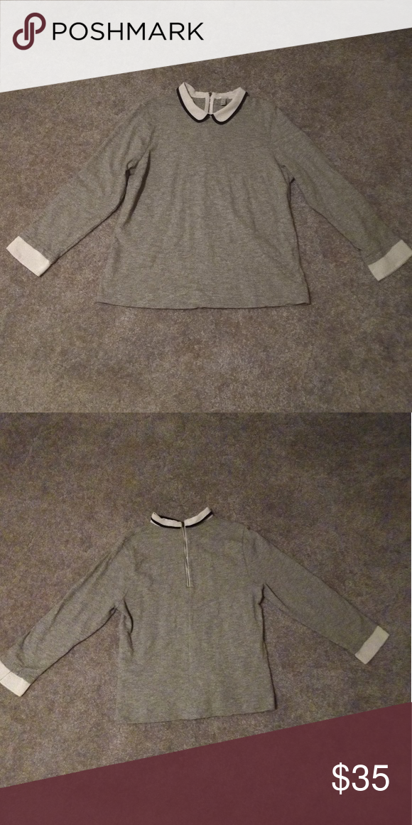 J Crew Peter Pan collar sweater! J Crew Peter Pan collar sweater with  zipper in the back. Super stylish and comfy 52af42fc9