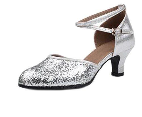 OUCHI Women PU Glitter Kitten Heel Cross Strap Latin Tango Ballroom Dance  Shoes CN41 Silver *