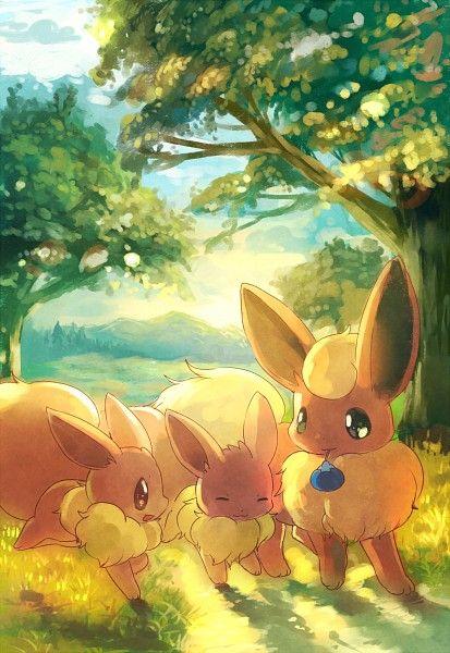 Flareon With Two Eevees Susse Pokemon Pokemon Bilder Bilder