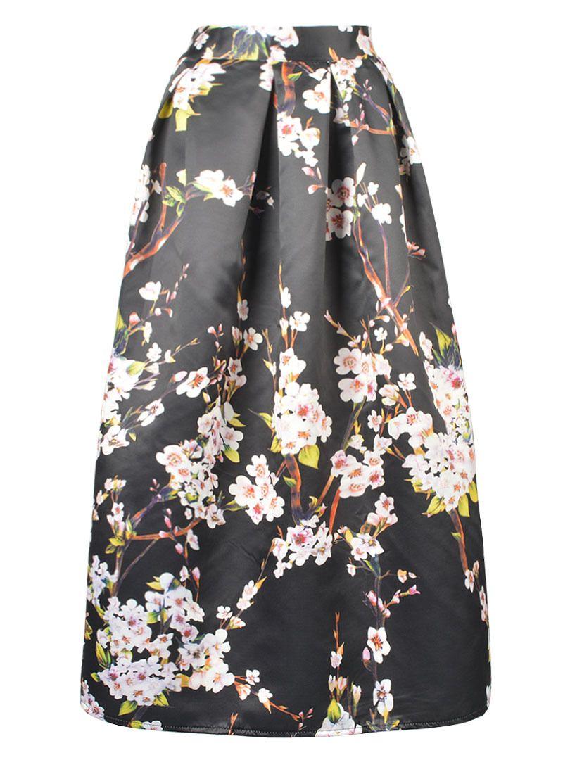 Floral High-Waisted Black Maxi Skirt | Gonne. | Pinterest | Black ...
