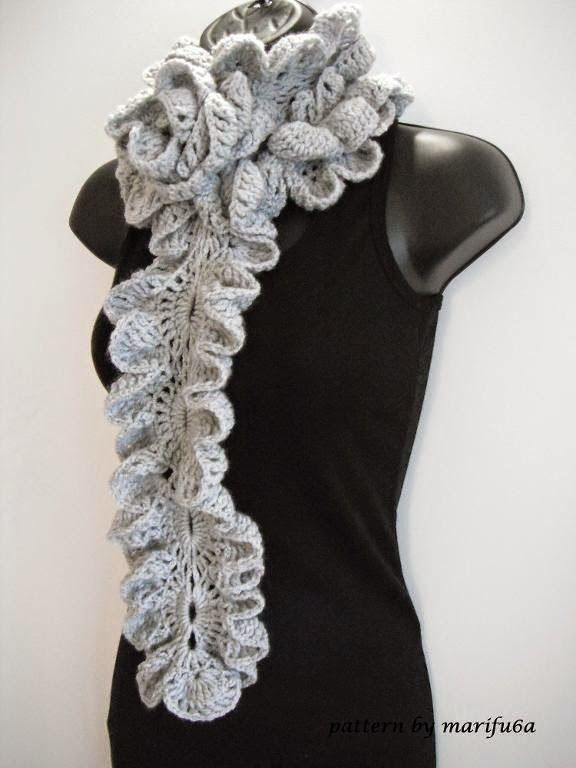 Crochet ruffle rose scarf | Crochet shawls | Pinterest