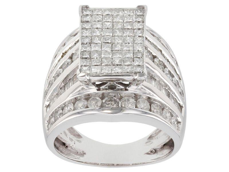 White Diamond 10k White Gold Ring 3 00ctw Cdg078 White Gold Rings Gold Rings White Gold