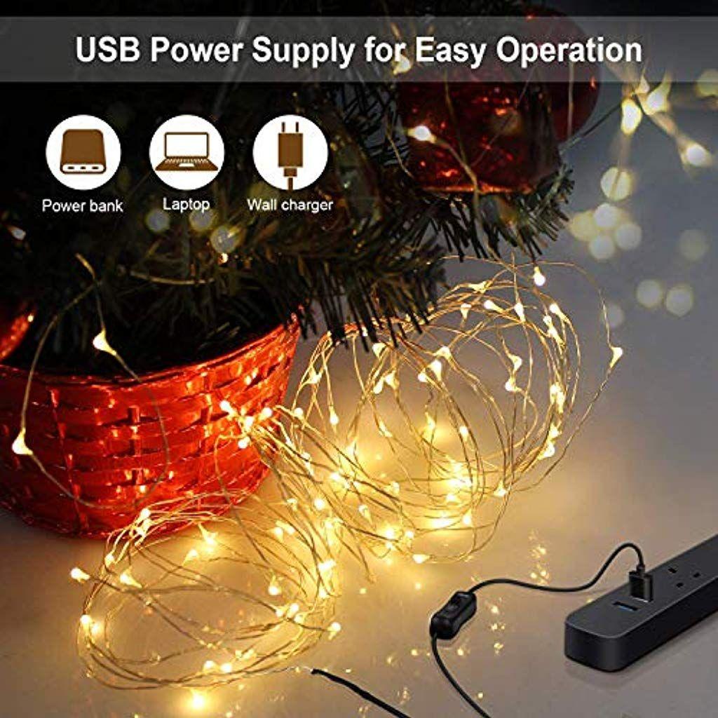 USB Batterie 10M100LEDS Lichterkette Silberdraht Fernbedienung Weihnachten Party