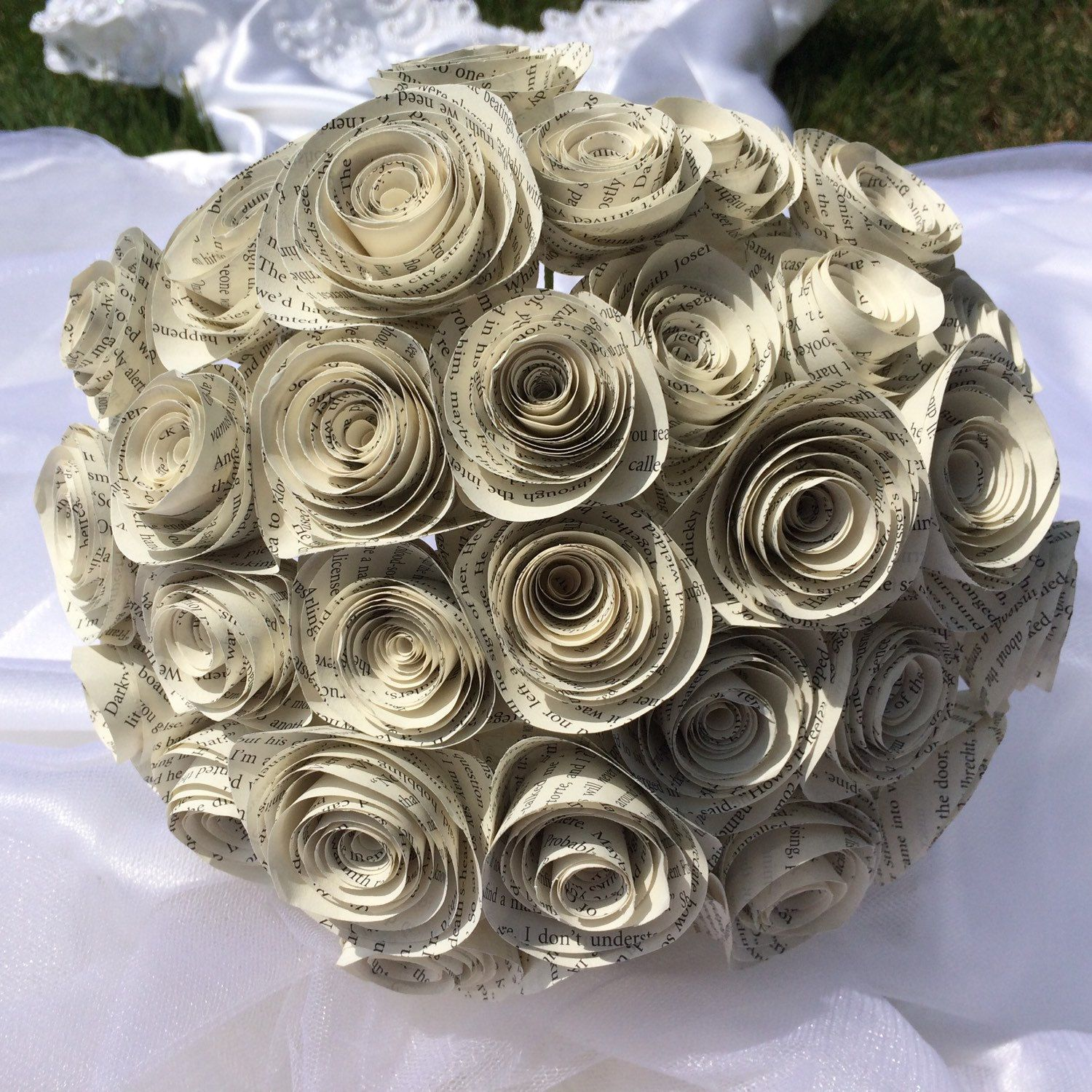 Spiral book page bouquet , bridal paper flower bouquet for rustic ...