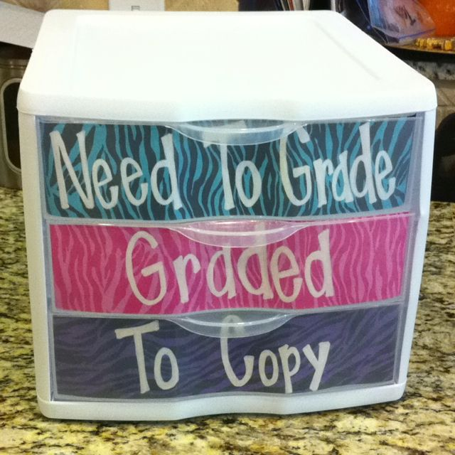"""Organize- I love this! No one can see how big my """"need to grade"""" pile is!"""