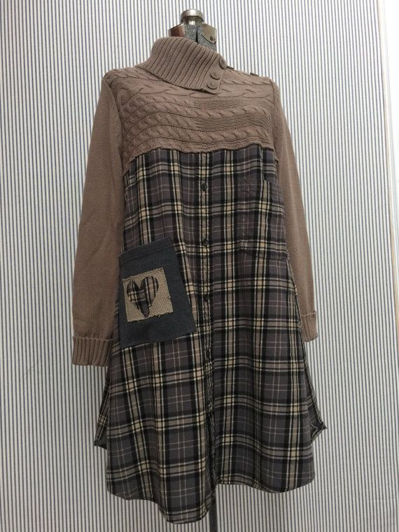 Upcycled Flanell Kleid, Upcycled Pullover Kleid, rustikale Woodland grau schwarz Taupe Plaid Kleid groß   – sewing – sweater inspirations