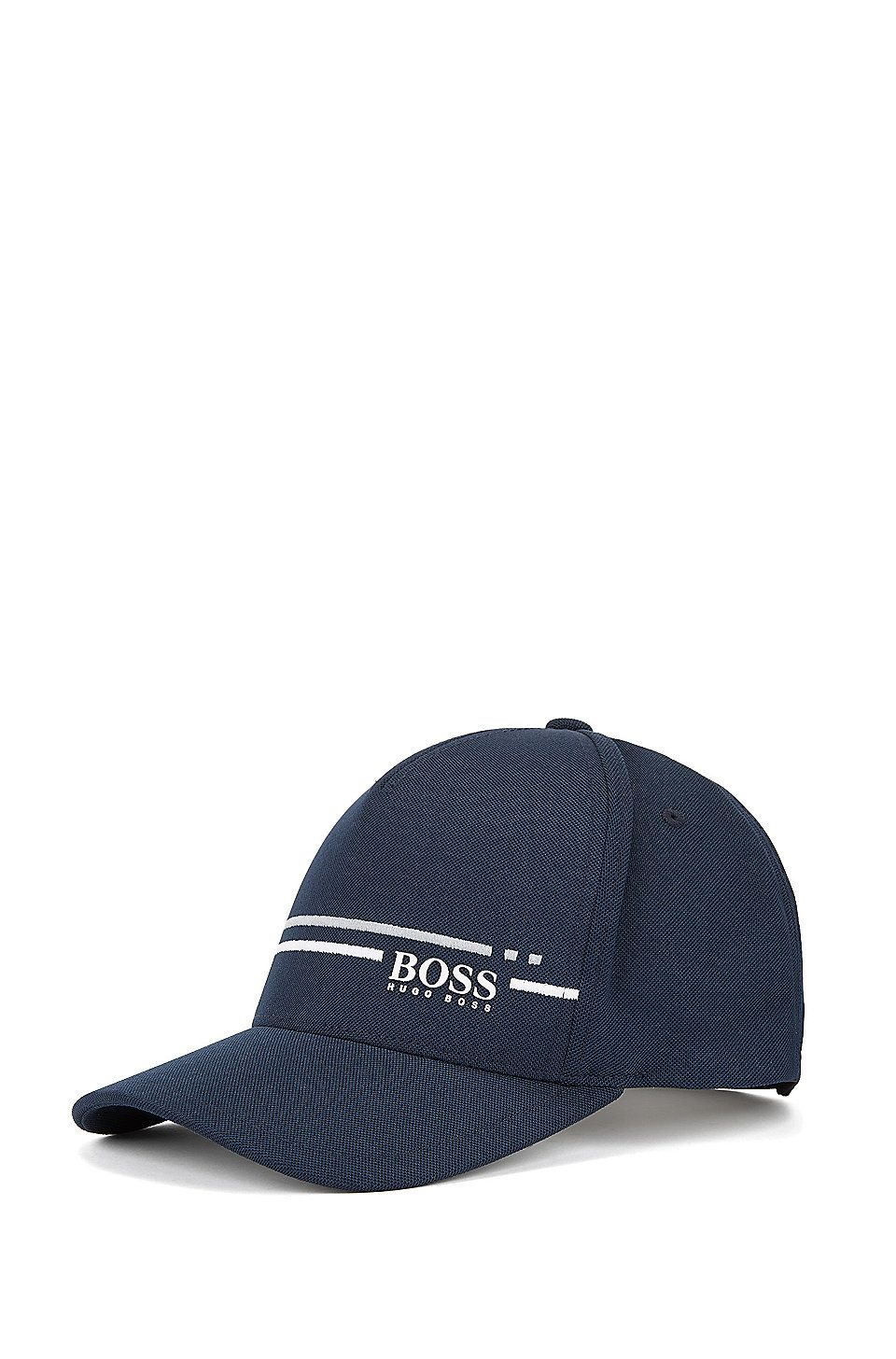 HUGO BOSS Piqué-mesh baseball cap with embroidered stripe - Dark Blue  Premium Golf Collection ff803e3b99e0