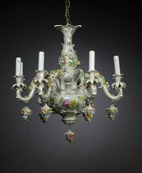 Dresden-style Porcelain Chandelier,