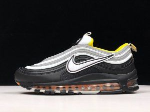 WomenMen Nike Air Max 97 OG Wolf Grey Solar Red Vivid