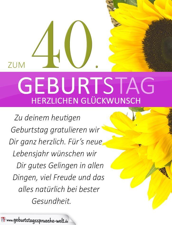 Geburtstagskarten 40 Geburtstag: Schlichte Geburtstagskarte Mit Sonnenblumen Zum 40