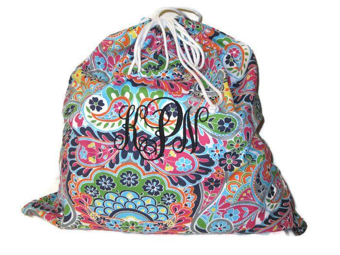 Personalized Laundry Bag Paisley Monogrammed Laundry Bag