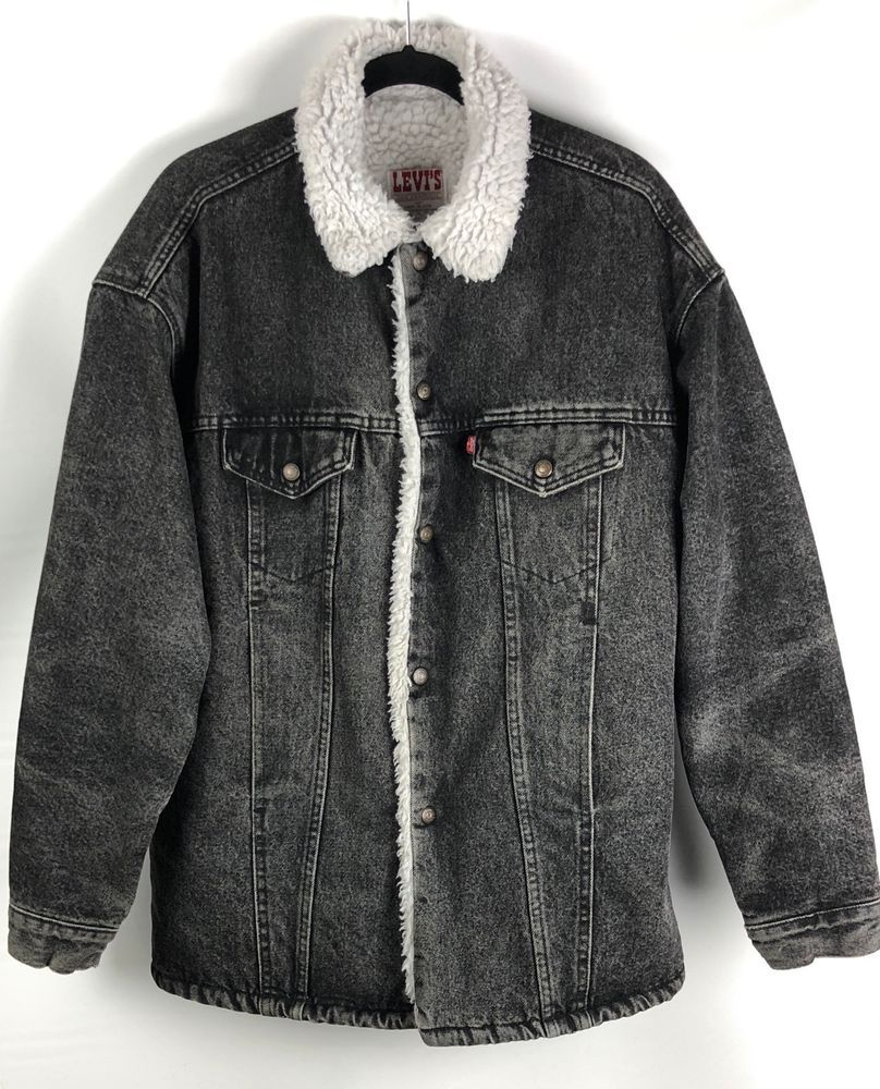 Details about new levius menus sherpa fur trucker jackets all sizes