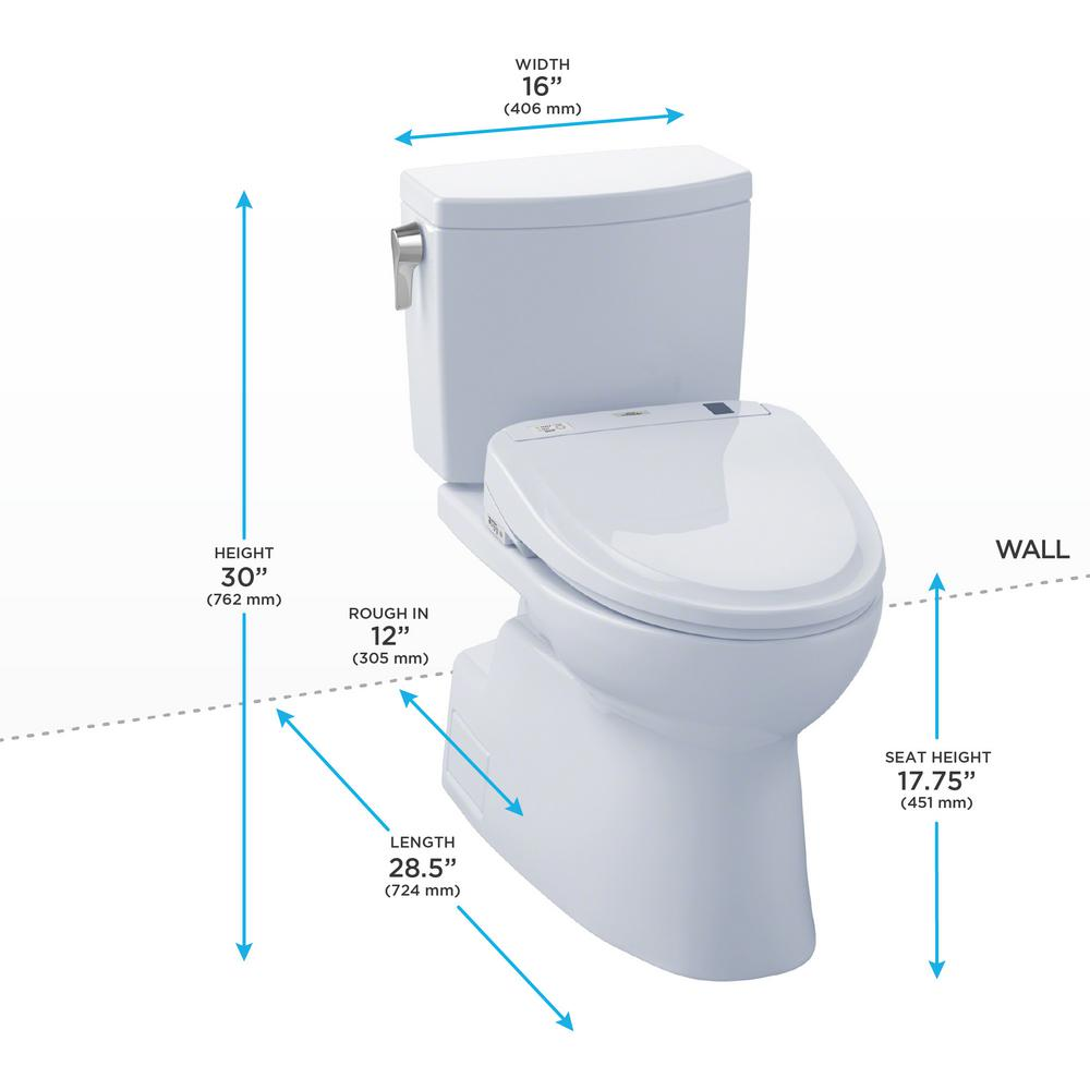 TOTO Vespin II Connect 2Piece 1.0 GPF Elongated Toilet