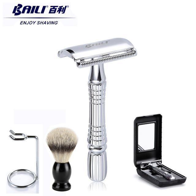 Baili Upgrade Wet Shaving Safety Blade Razor Shaver Handle Barber Men S Manual Beard Hair Care 1 Blade 1 Travel Wet Shaving Hair And Beard Styles Barber Man