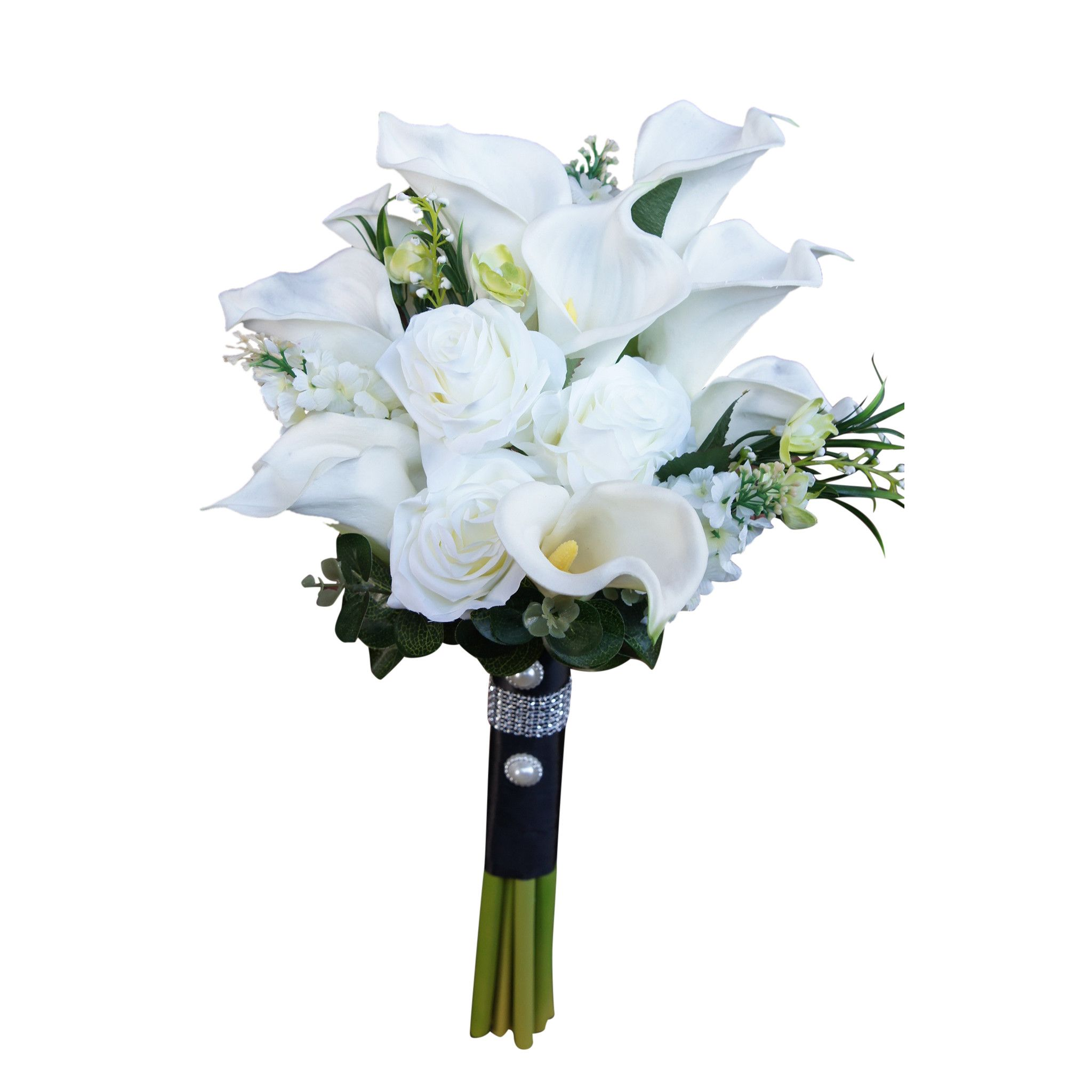 Large real touch Calla lily bridal bouquet-silk flower roses and ...