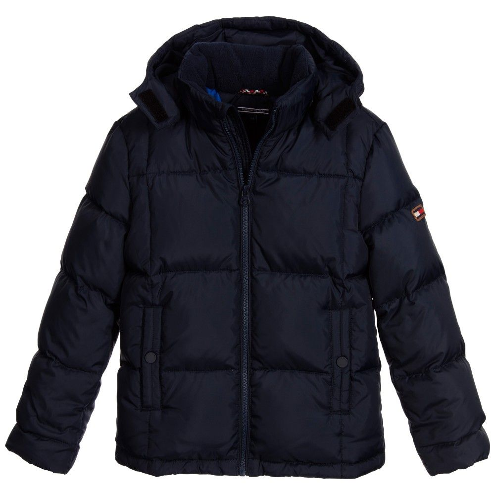 Tommy hilfiger boys navy blue down padded jacket with hood