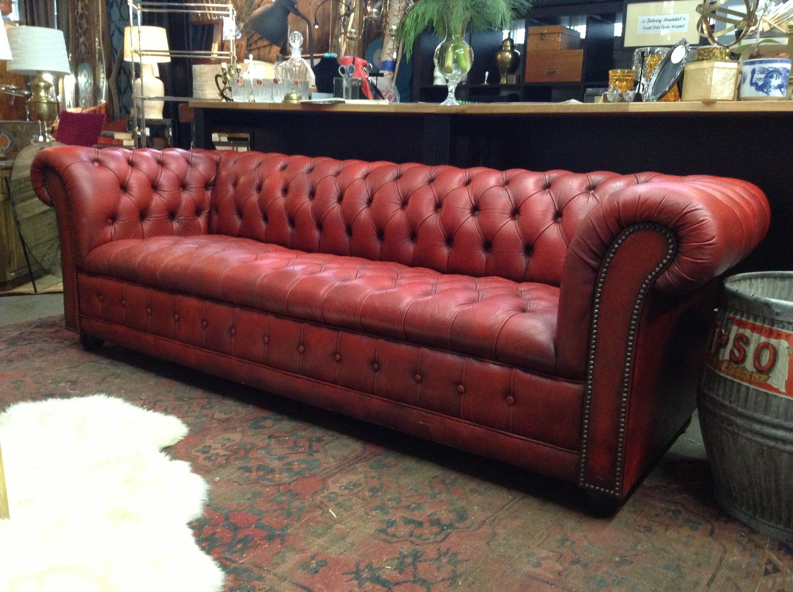 Red Leather Tufted Sofa | MODERN SOFA | Leather sofa sale ...