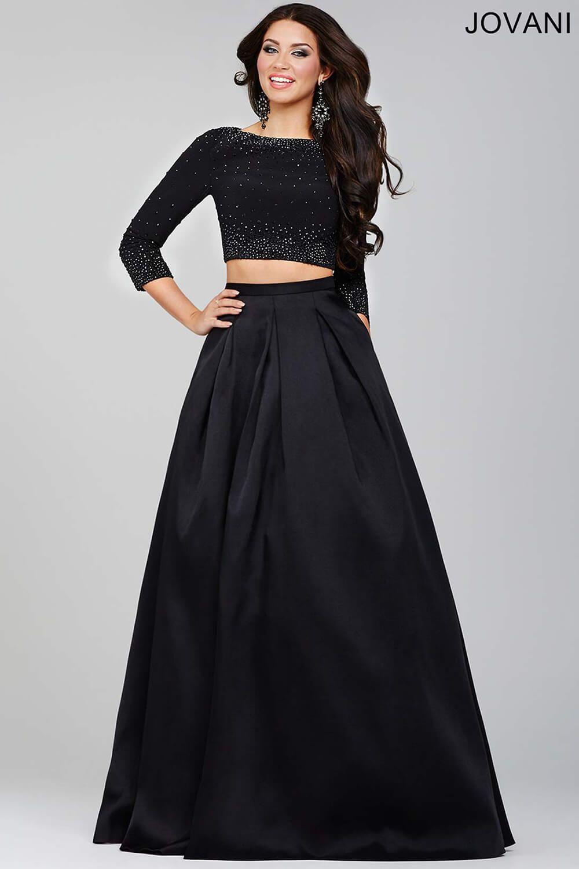 Black two piece prom dress prom dresses mezuniyet
