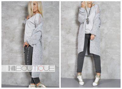 Dolce Wloski Dlugi Sweter Aspen Kardigan Grey 6378895166 Oficjalne Archiwum Allegro Fashion Grey Jean Jean