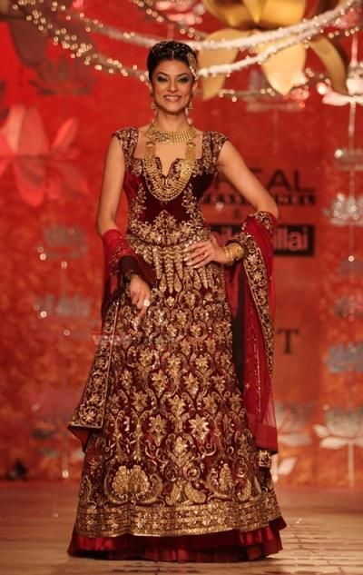 <p>Former Miss Universe and Bollywood actress, Sushmita Sen, wore intricately-worked <em>lehenga choli</em>, featuring beautiful gold embroidery all over by the ace designer, Rohit Bal.</p> <h5>Image Courtesy: Rohit Bal</h5>