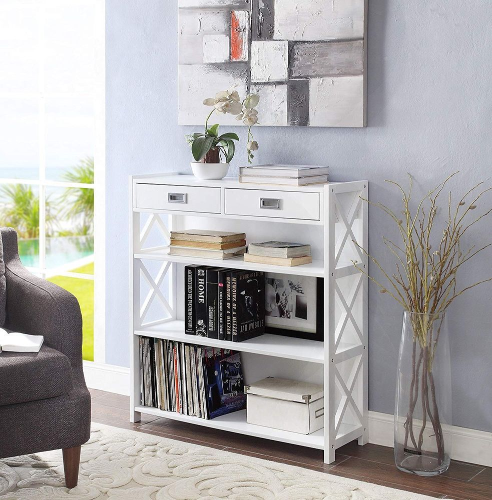 Console table with storage furniture modern accent white wood