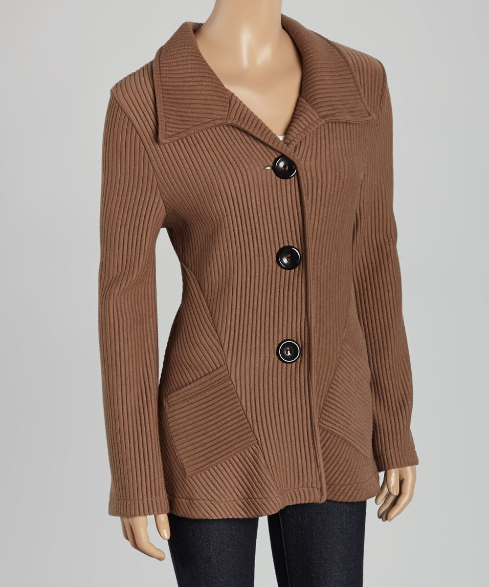 Great Cavalier Brown Ribbed Button-Up Sweater | Brown, Sweaters ...