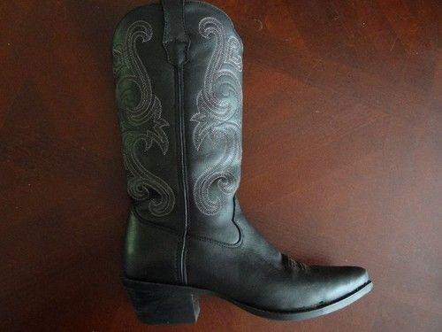 Durango Embroidered Black Cowboy Boots Crush