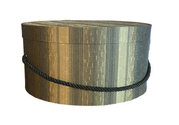 Mens 15 Hat Box Tan And Black Stripe Large Decorative Fabric