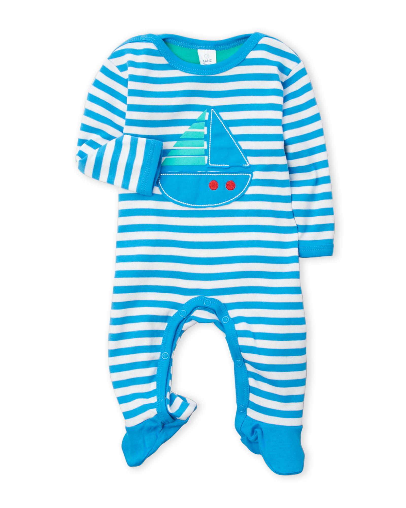 Kanz (Newborn/Infant Boys) Stripe Sailboat Footie