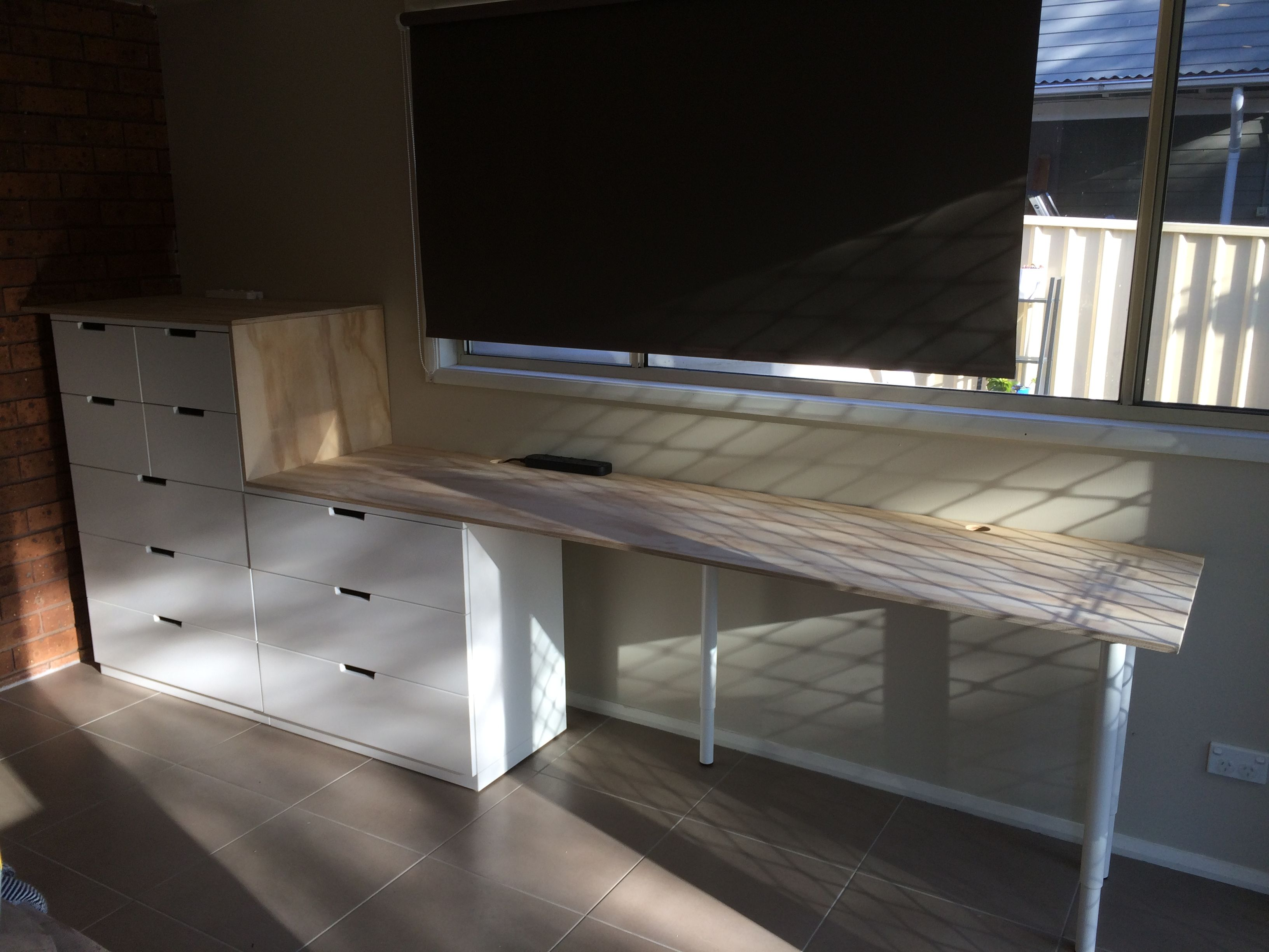 Ikea Slaapkamer Kind Desk Made From Plywood And Ikea Nordli | Werk/speel/tv