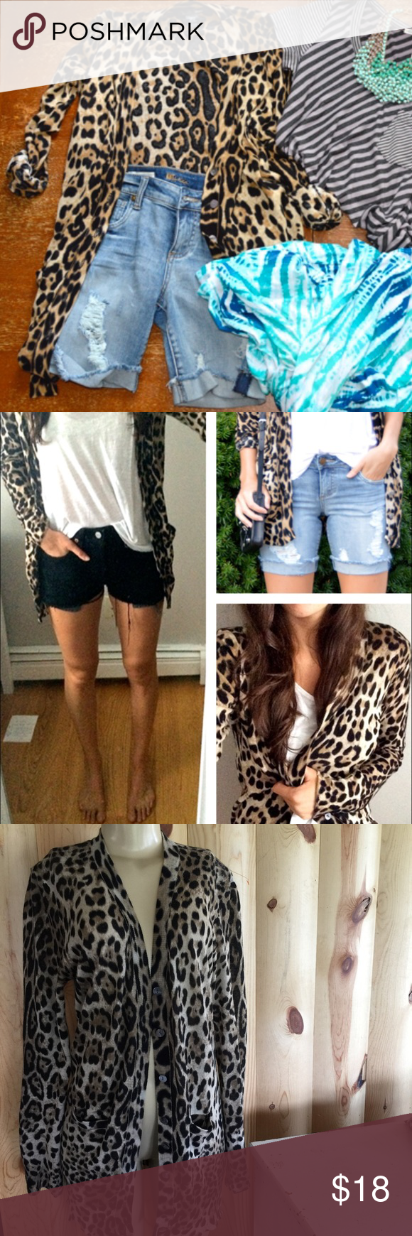 Ellison/ leopard print long lightweight cardigan