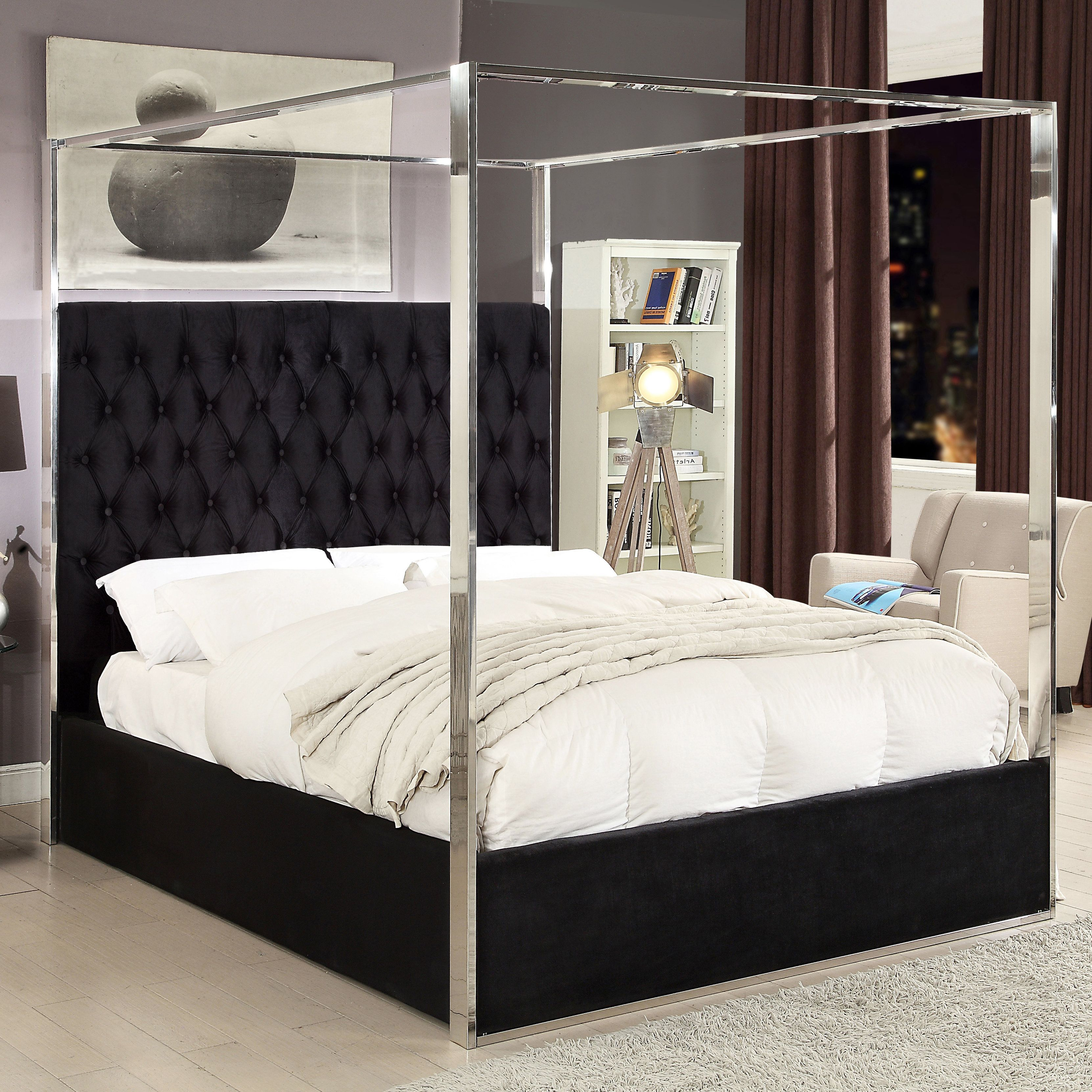 Pamala Upholstered Canopy Bed Canopy bed, Meridian