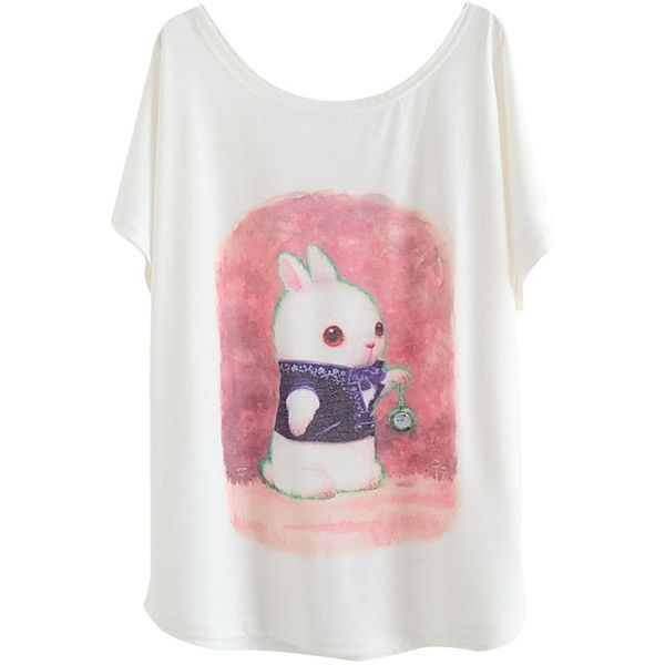2015 Pink Cute Bunny Printed Womens Casual Loose T Shirt 79 NOK