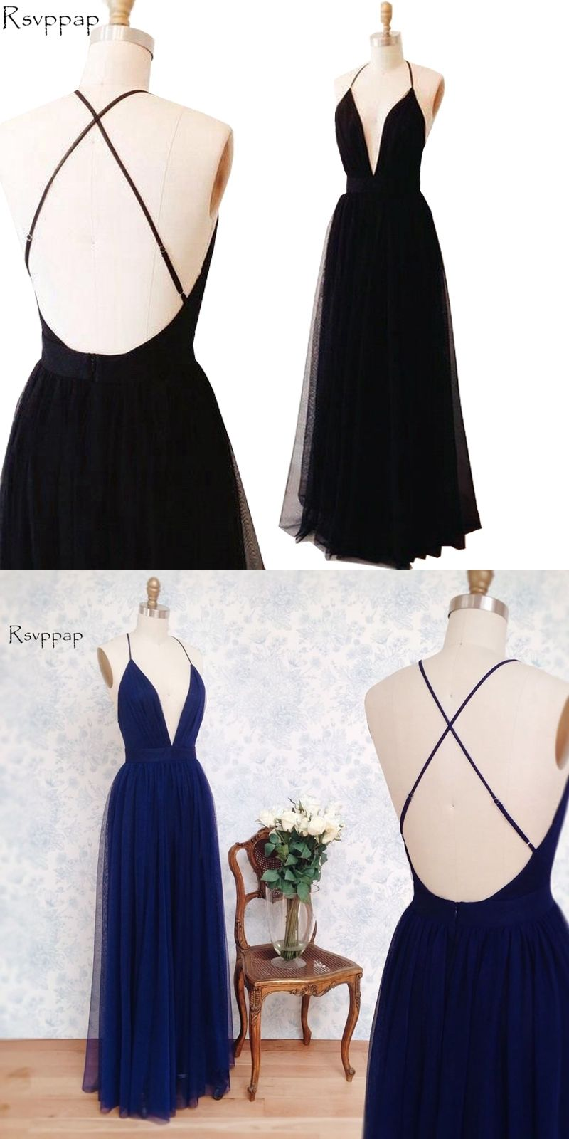 Simple long evening dress sexy aline vneck spaghetti strap
