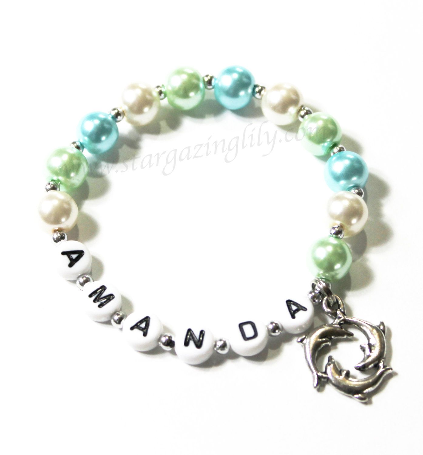 Dolphin Charm Bracelet: Dolphin Charm Bracelet Personalized With Name. You Choose