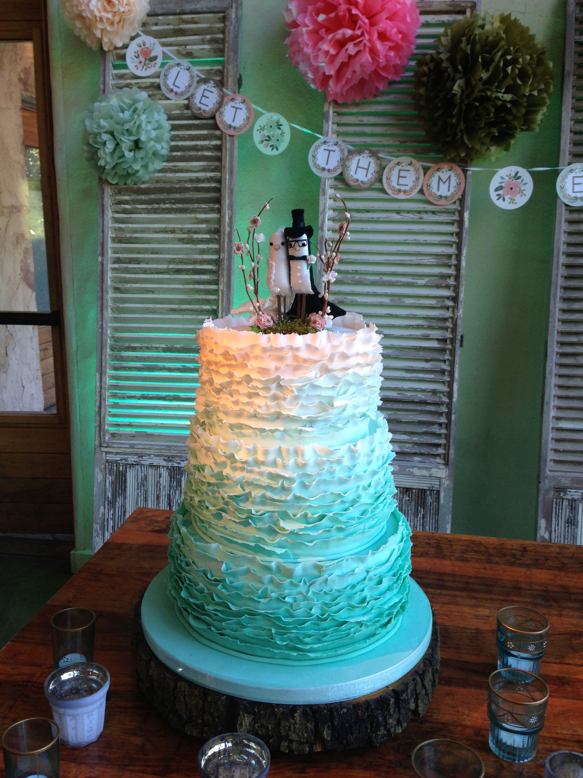 Ombré green ruffled wedding cake. Ruffle wedding cake