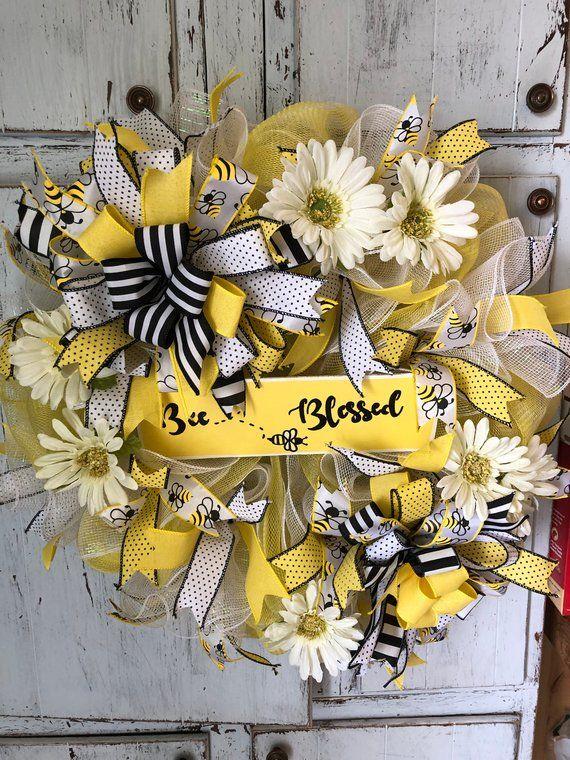 Photo of Summer wreath for front door, summer wreath, front door summer wreath, bumble bee wreath, summer wreaths, summer bumblebee wreath