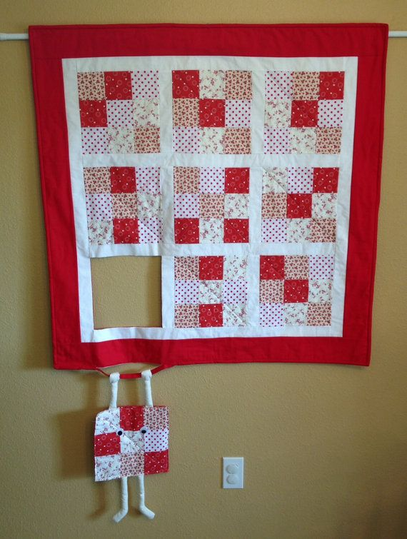 Runaway Quilt Block Hang In There Humorous Quilted Wall