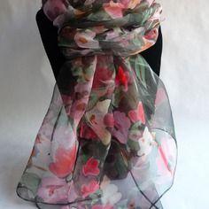9785673c5b15 Nouveauté etole écharpe foulard en mousseline de soie peint main