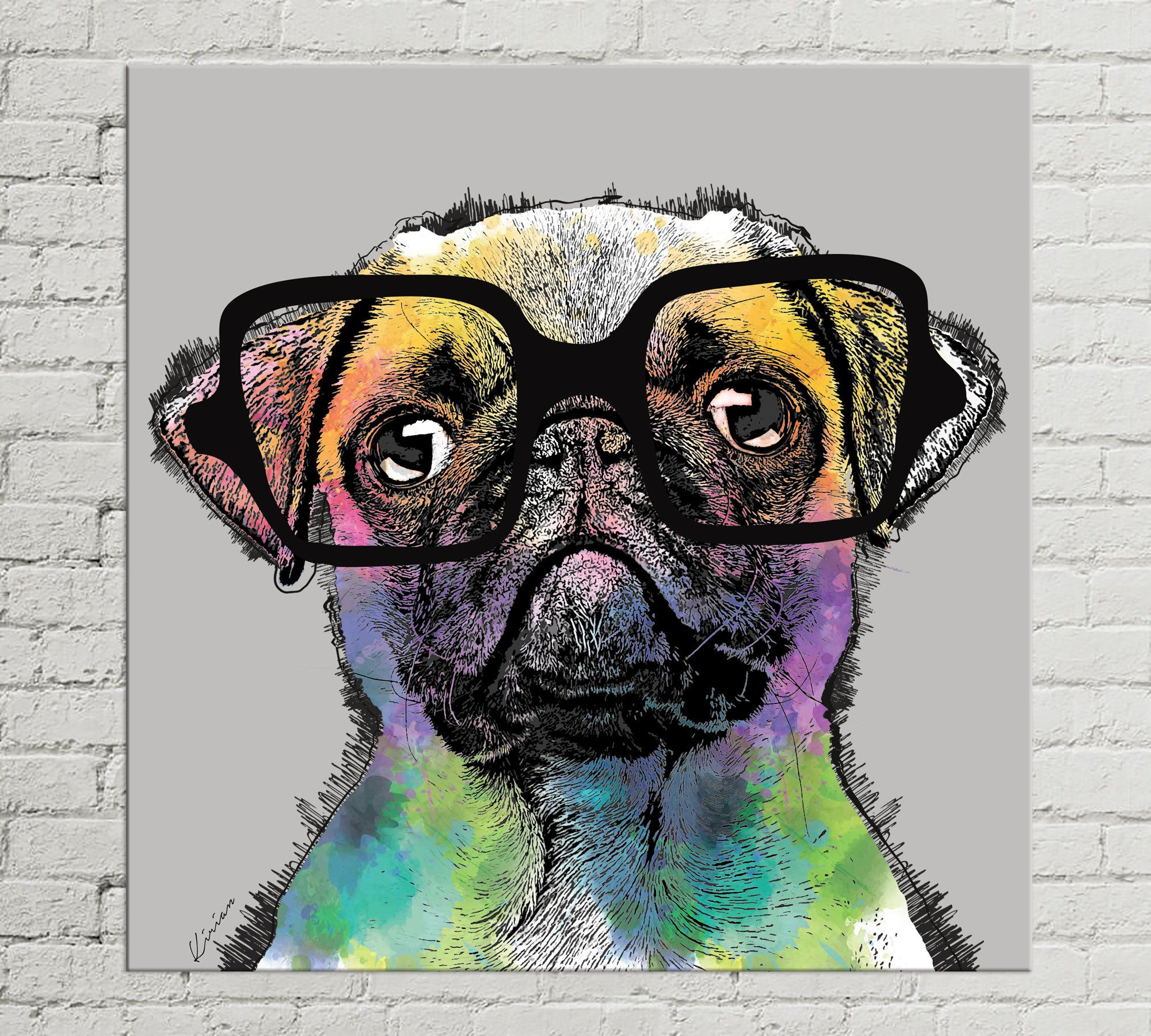 Rainbow Pug Large Canvas Gallery Wrap Modern Home Decor Framed